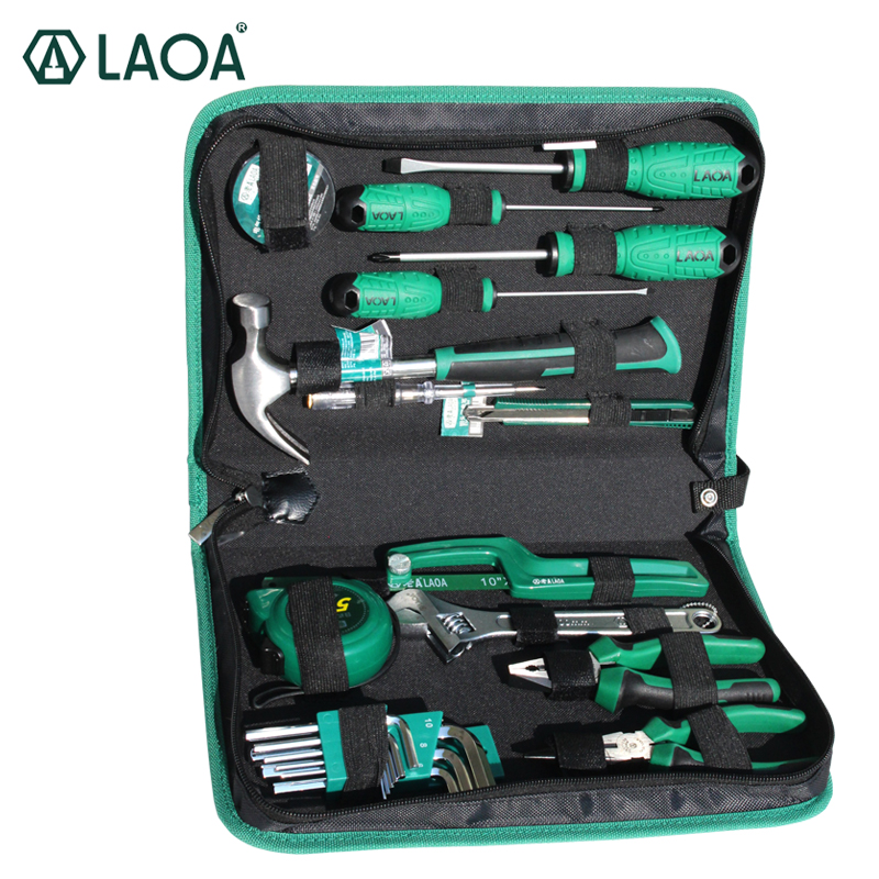 LAOA Hand Tools Set 7/9/13/18/22pcs Screwdrivers And Pliers With Hammer Tape Measure And Tool Bag