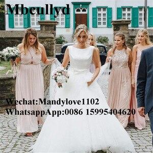 Image 3 - Mbcullyd Boho Trouwjurken 2019 Elegant Satijn En Tulle Lange Floor Lengte Bruid Jurk Plus Size A lijn vestido de noiva