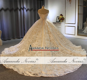 Image 4 - Off the shoulder straps ball gown princess wedding dress champagne color brand new