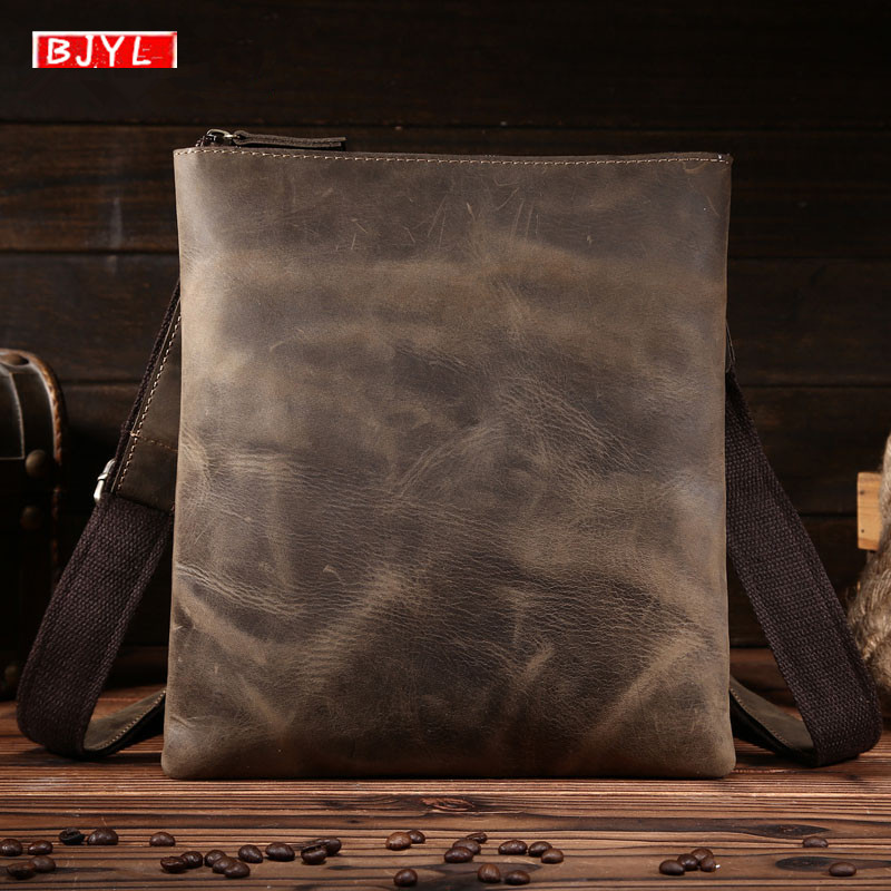 BJYL The first layer of leather men shoulder bag diagonal package crazy horse leather men messenger crossbody business bagBJYL The first layer of leather men shoulder bag diagonal package crazy horse leather men messenger crossbody business bag