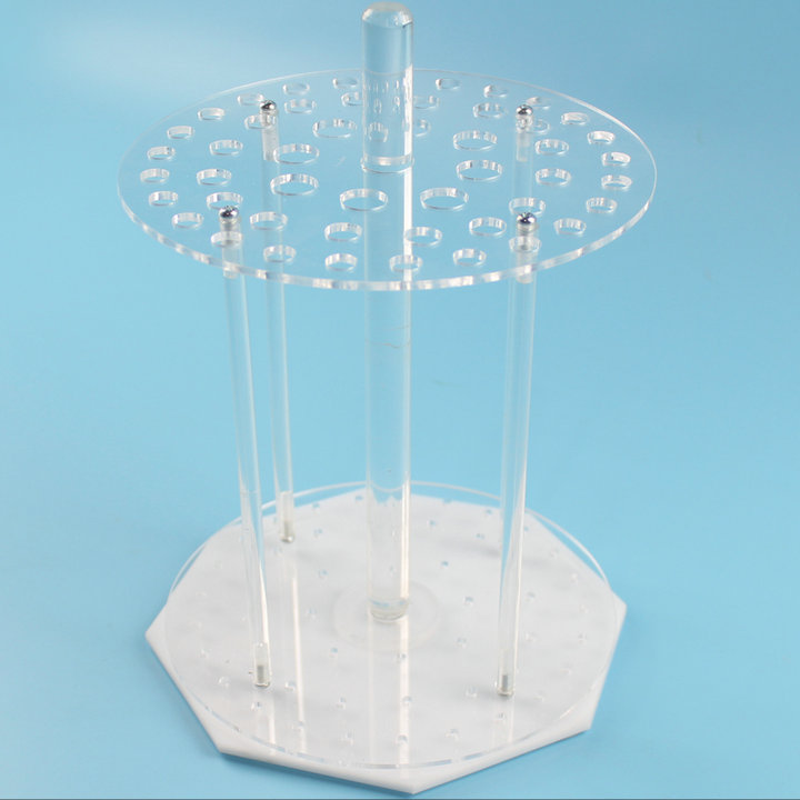 1Piece/lot 49 vents/holes Organic glass round shape rotatable pipette stand tube holder, pipet support rack