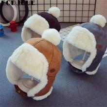 Çocuklar kasketleri kış bebek çocuk örme şapka çocuk kız rus kadın kalın sıcak kapaklar yaşı 2-6 yıl eski Ushanka şapka 2019