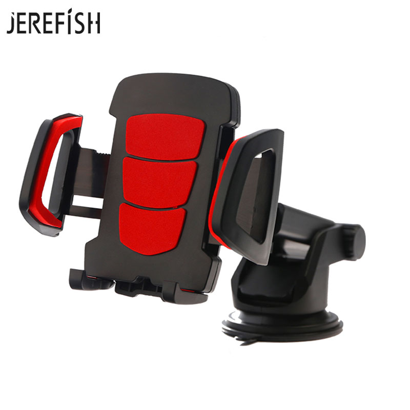 JEREFISH Universal Car Phone Holder Easy One Touch with Strong Stick Suction Cup Gps Dashboard Windshield Car Phone Mount suporte de celular para parabrisa