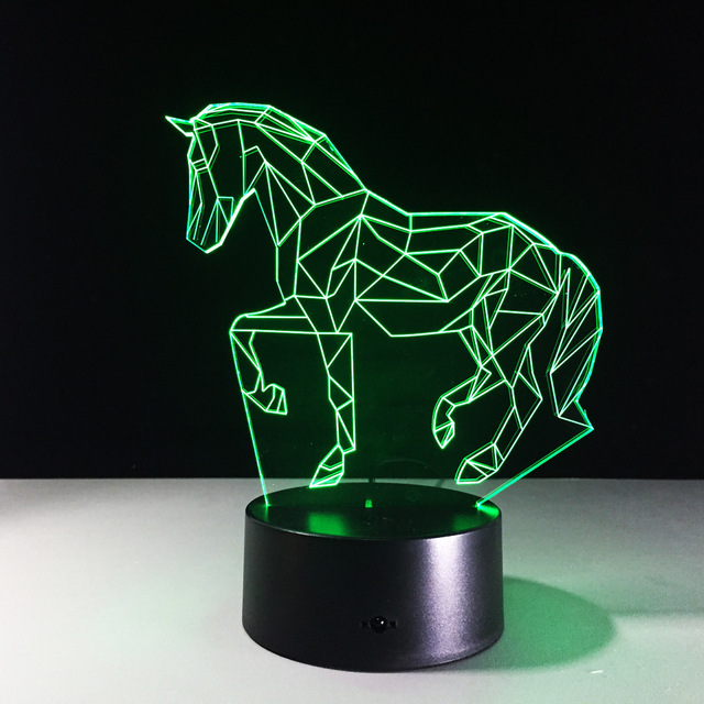 7 Colors Changing Horse Night Light 3D LED Visual Atmosphere Lamp