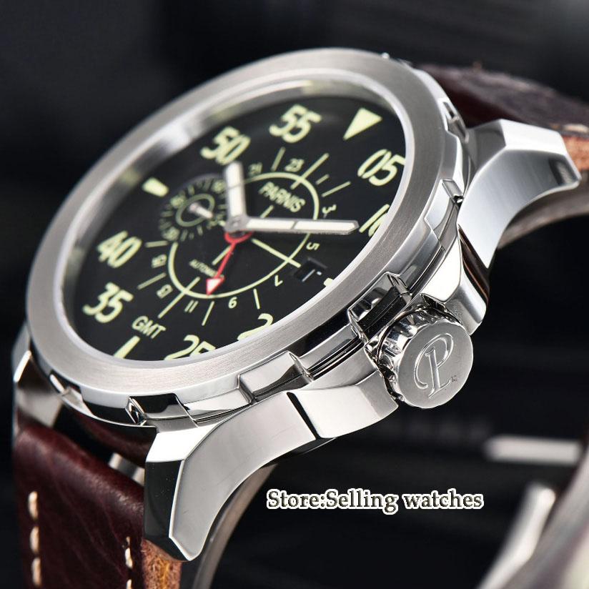 44mm Parnis SS Funda de cuero luminoso GMT impermeable mecánico automático reloj de hombre-in Relojes mecánicos from Relojes de pulsera    2
