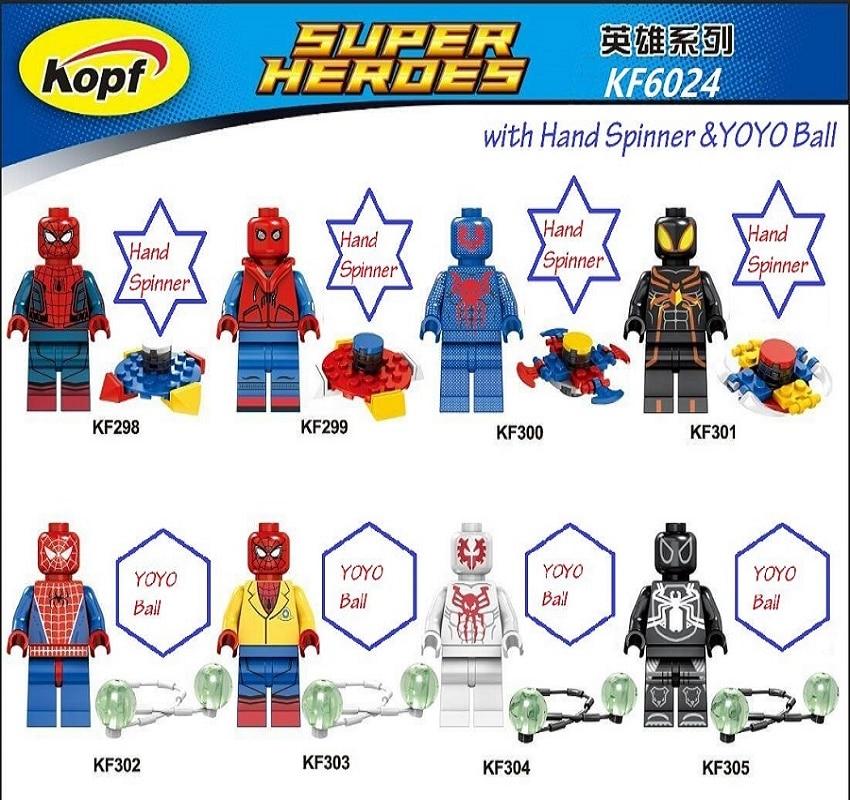 Super Heroes Spider Man Spider-man Spiderman With Hand Spidder&YOYO Ball Building Blocks Collection Toys for children KF6024 single sale super heroes homecoming spiderman with hand spidder