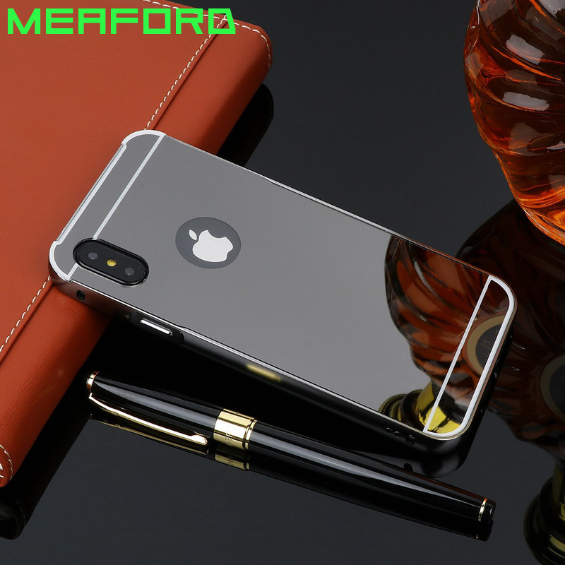 Luxury Mirror Bumper Case For iPhone X Back Cover Gold Plating Acrylic PC Metal Alumimum Frame For iPhone X Phone Case Fundas