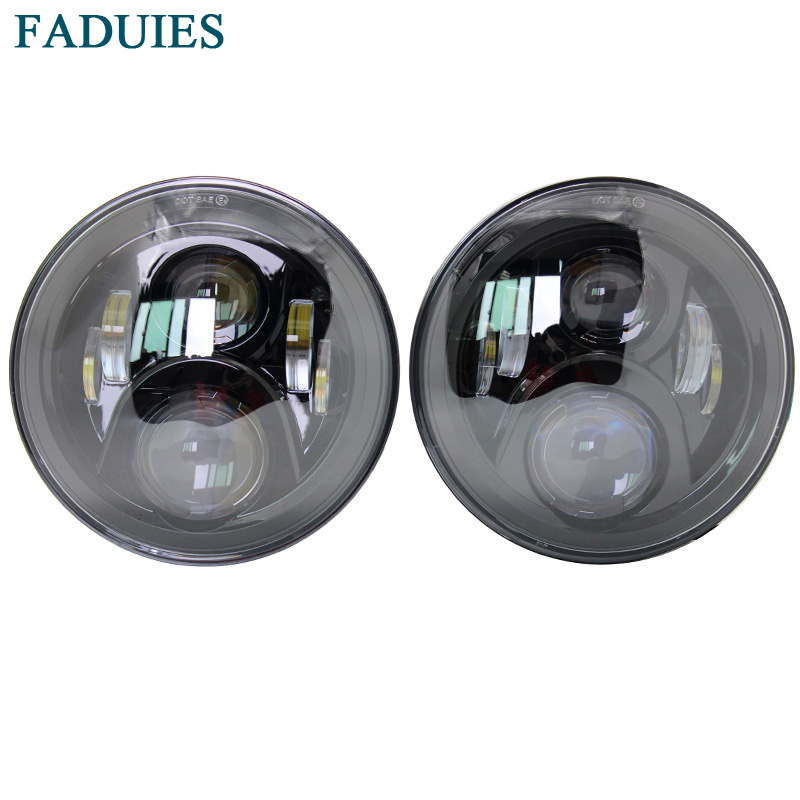 FADUIES Car Accessories 7 Round 60W LED Hi/Lo Beam H4 Projector Headlight For Jeep Wrangler JK Land rover defender Headlight 75w 5d 7 inch round led projector daymaker headlight for jeep wrangler jk land rover defender 90