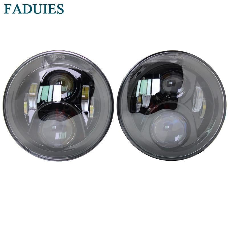 FADUIES Car Accessories 7 Round 60W LED Hi/Lo Beam H4 Projector Headlight For Jeep Wrangler JK Land rover defender Headlight