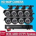 Ahd 960 p sistema de câmera de segurança 8ch 1080 p hd sistema de cftv sony 2500tvl bala ao ar livre sistema de câmera de vídeo em casa kits de vigilância