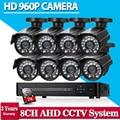 Sistema de cámaras de seguridad 8ch ahd 960 p 1080 p cctv sistema hd sony 2500tvl sistema de bala al aire libre cámara de vídeo doméstico kits de vigilancia