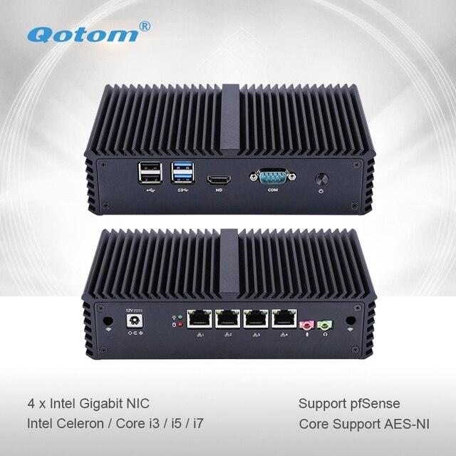 Qotom Mini PC Q300G4 Celeron i3 i5 i7 с 4 гигабитная Сетевая интерфейсная карта Поддержка AES-NI Pfsense как роутер с файрволом безвентиляторный маленький компьютер ПК Коробка