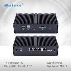 Qotom Mini PC Q300G4 Celeron i3 i5 i7 con 4 Gigabit NIC y Core Soporte AES-NI Router Firewall sin ventilador pequeña caja de ordenador PC