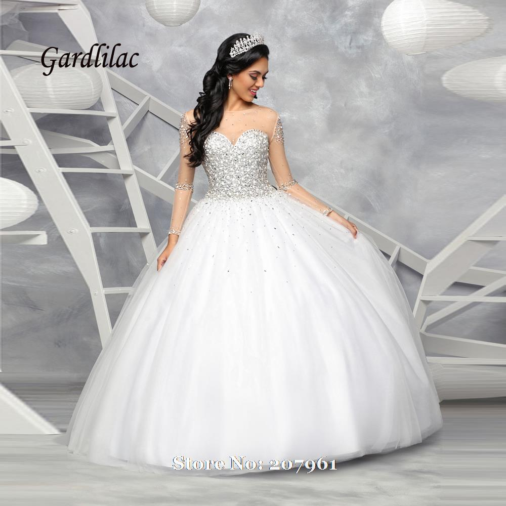 Wedding White Quinceanera Dresses online get cheap white quinceanera dresses sleeves aliexpress com new long sleeve 2017 ball gown vestidos de 16 anos tulle with crystal