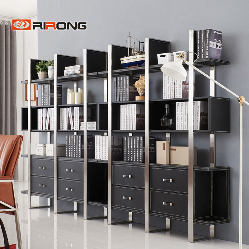 Modern 1.5m Black Office Leather Steel  Home Living Room Bookcase Filling Cabinet