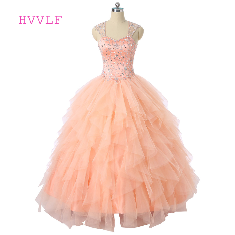 Peach Vestido Quinceanera Dresses 2017 Ball Gown Sweetheart Cap Sleeves Tulle Beaded Crystals Cheap Sweet 16 Dresses