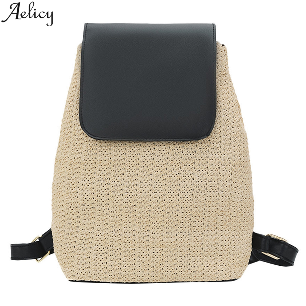 Aelicy Womens Students Straw Weaving Backpack Designed Girls School Bag Fashion Panelled Travel Shoulder Bag Mochila NewAelicy Womens Students Straw Weaving Backpack Designed Girls School Bag Fashion Panelled Travel Shoulder Bag Mochila New