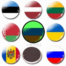 30 MM Glass Refrigerator Magnet Luminous Fridge Magnets Flag Estonia Latvia Lithuania Belarus Russia Ukraine, Moldova