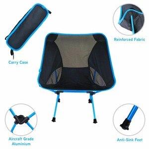 Image 2 - Składane na zewnątrz plaża połowów krzesło przenośne, Super lekkie oddychające oparcia piknik na plaży krzesło grill stołek kempingowy