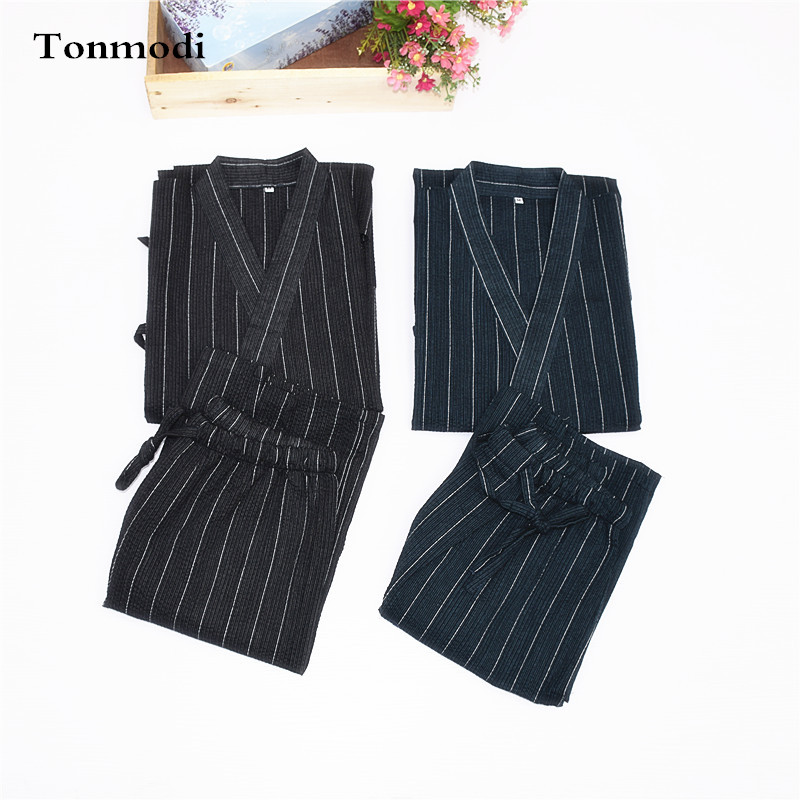 Men's Sleep & Lounge Kimono Pajamas For Men 100% Cotton Cloth Kimono Stripe Robe Short-sleeve Half Pants Pyjamas Men Lounge Pajama Set