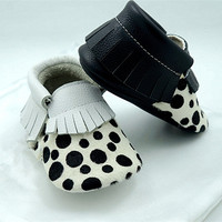 New handmade Leopard Genuine Leather Horse hair shoes Baby Moccasins bow tassel First Walker Bebe newborn Soft bottom shoes