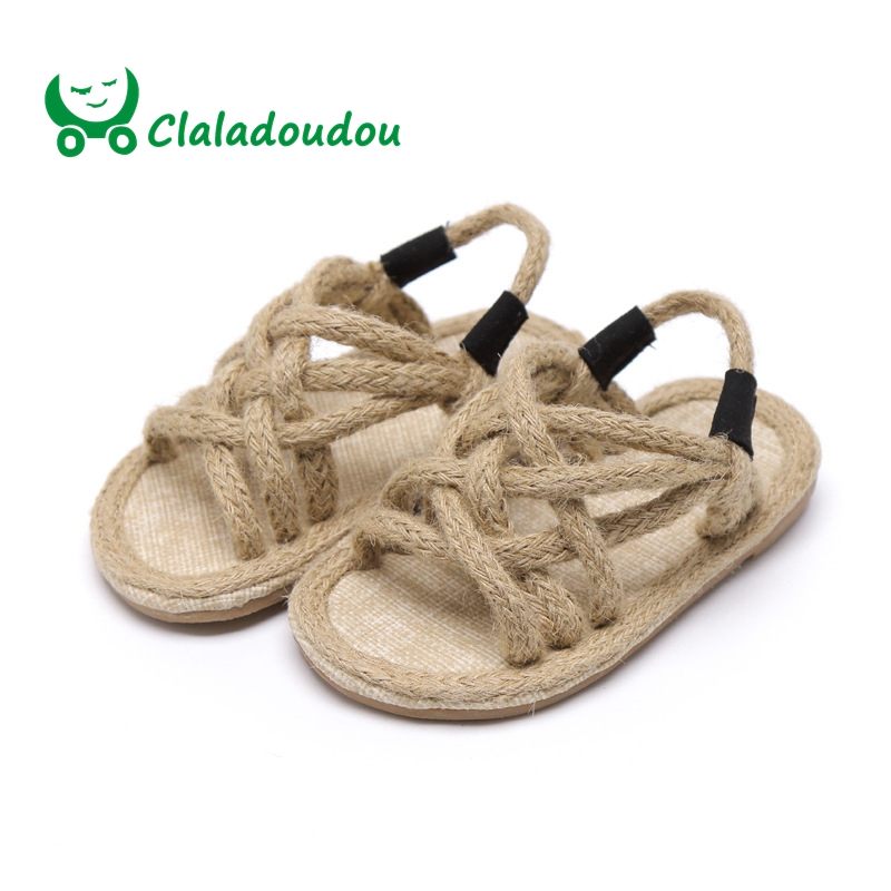Claladoudou Toddler Sandals Infantil Girls Fashion Hemp Casual Black Soft Brand Rope