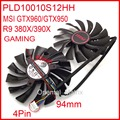 Free Shipping 2pcs/lot POWER LOGIC PLD10010S12HH 12V 0.40A 94mm For MSI GTX960 GTX950 R9 380X 390X GAMING Cooler Cooling Fan