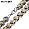 Trendsmax 8mm Mens Chain Greek Pattern Box Byzantine Link Stainless Steel Necklace Fashion Jewelry KNM109