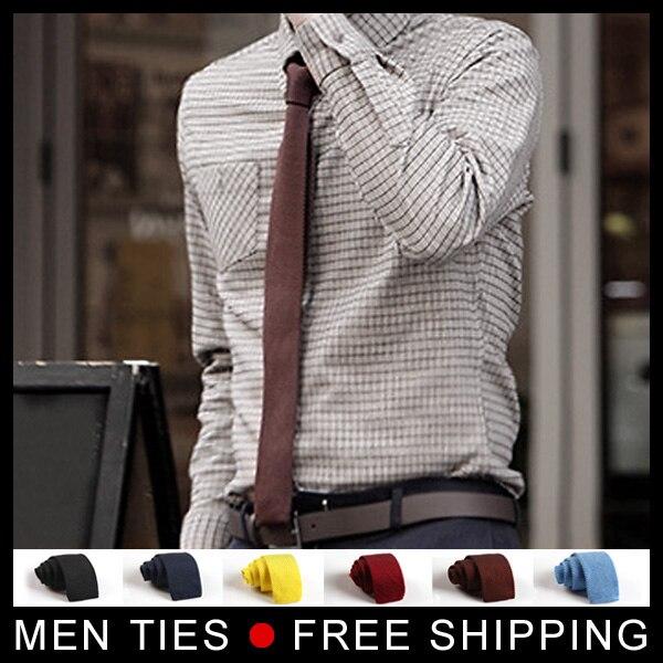 Knitting Ties for Men New Fashion Flat Knit Tie Slim 5cm Mens Knitted Ties Narrow Solid male Necktie slim