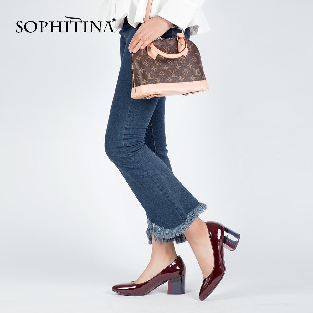 SOPHITINA Marke Schuhe Starke Ferse Damen Pumps Lackleder Spitz Bunte - Damenschuhe - Foto 4