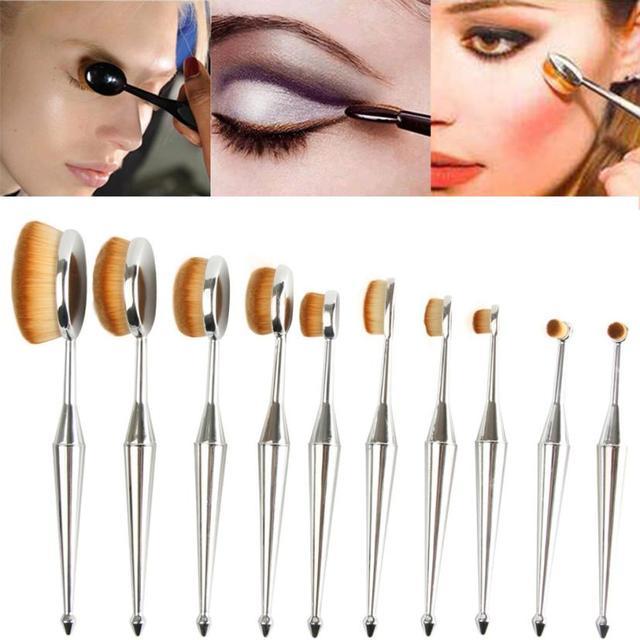 Hot New 10 UNIDS Cepillos cepillo de Dientes de La Nueva Sirena de Maquillaje Cepillo de Base Ovalada Un Juego de Belleza Chica de Noviembre 15