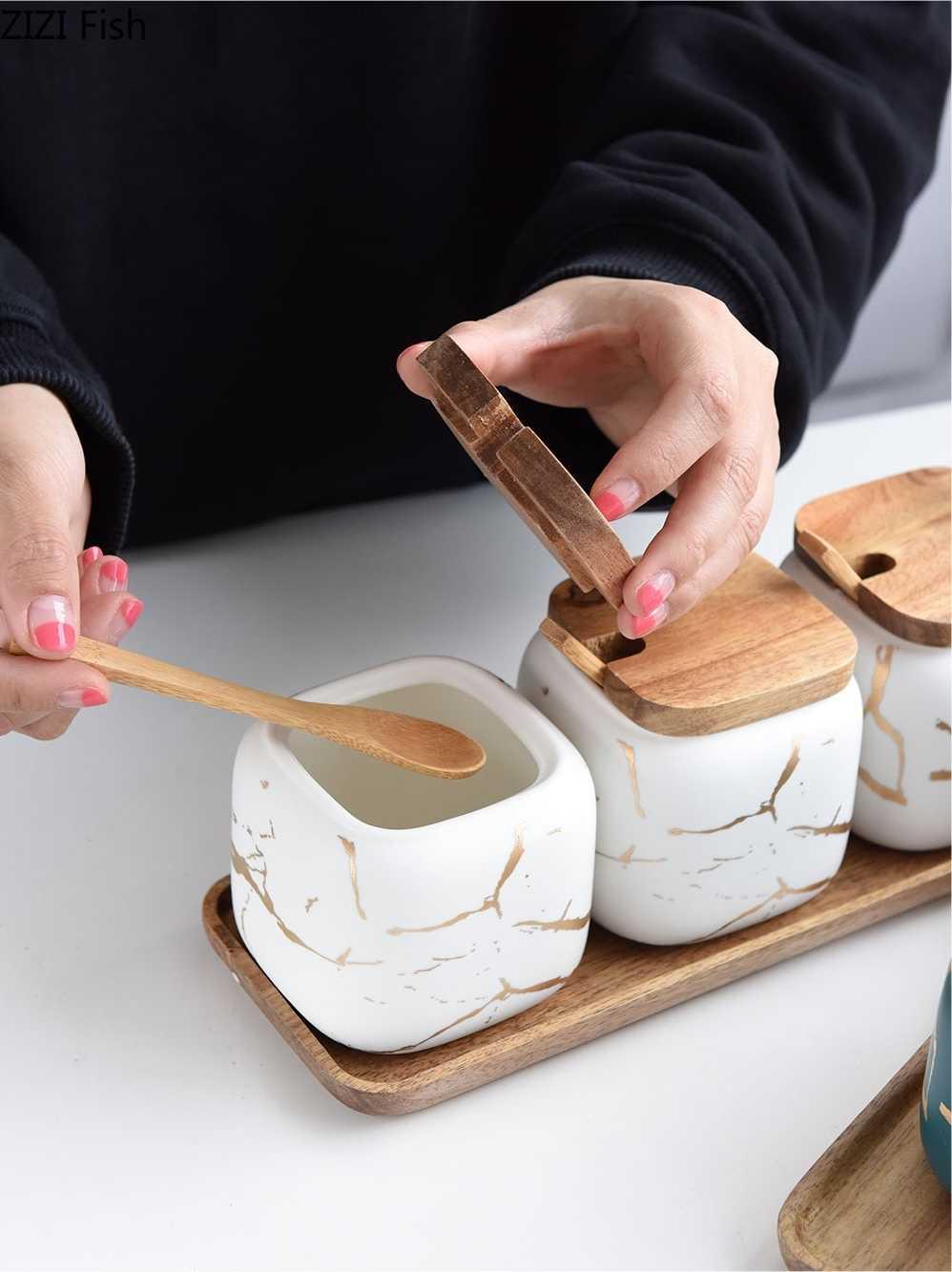 Criativo estilo nórdico padrão de mármore cerâmica cozinha tempero conjunto tanque de madeira cobertura saleiro spice jar acessórios da cozinha