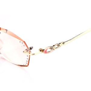 Image 4 - SOOLALA Rhinestone Anti Blue Light Reading Glasses Women Diamond Cutting Rimless Glasses Men Golden Reader Presbyopic Eyeglasses