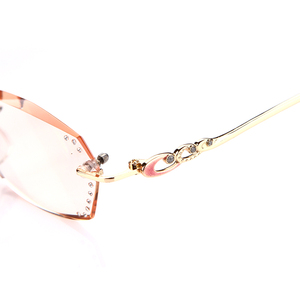 Image 4 - Soolala Strass Anti Blauw Licht Leesbril Vrouwen Diamant Snijden Randloze Bril Mannen Golden Reader Verziend Brillen