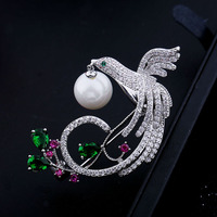 Popular Unique Women Cubic Zirconia Wedding Brooches Phoenix Bird Brooch Pins For Wedding Part Micro Pave