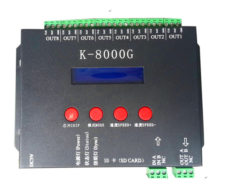 K-8000G,SD card LED pixel controller;off-line;SPI signal output;controlling 8192 pixels;can choose IC type by using the button k 8000g sd card led pixel controller off line spi signal output controlling 8192 pixels can choose ic type by using the button