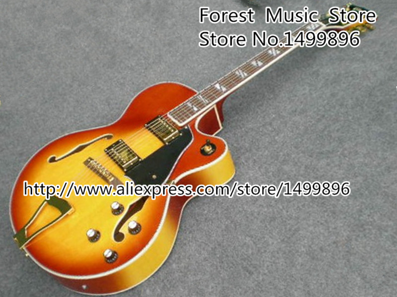 China Musical Instrument Cherry Sunburst Classical Gret. Electric Acoustic Jazz Guitar Kits & Body For Sale 2016 new factory sunburst finish chibson j45 acoustic guitar classical double rhombic inlays rosewood body and sides