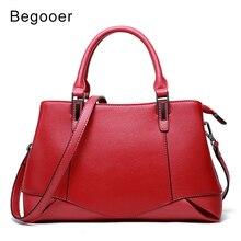 Begooer Wanita Handbags 2018 Kulit Asli Wanita Tas Bahu Korea Tas Wanita Tote Tas Merah Fashion Tas Kantor untuk Wanita