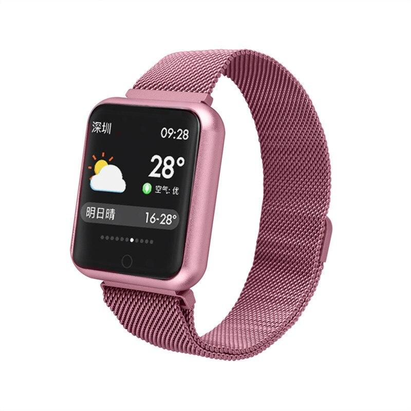 Pink Women Smart Watch Fitness Bracelet Heart Rate Blood Pressure Monitor Sports Pedometer Smart Band IP68 Smartwatch Watch Men Smart Watches     - title=