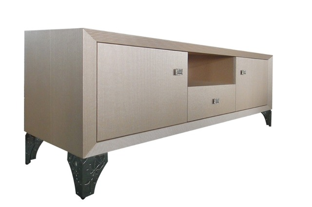 living room home furniture TV stands modern style for leather surface and decorated small side carbinet stainless steel based