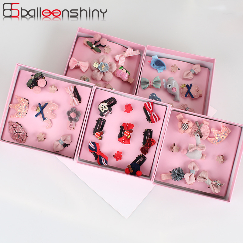 BalleenShiny 9 Pcs/set Baby Girls Headband Hairpins Children Cartoon Hair Clips New Style Headwear Set Cute Hair Accessories 10pcs lot new high quality thick little girls hair clips kids colorful solid barrettes children safety hairpins hair accessories