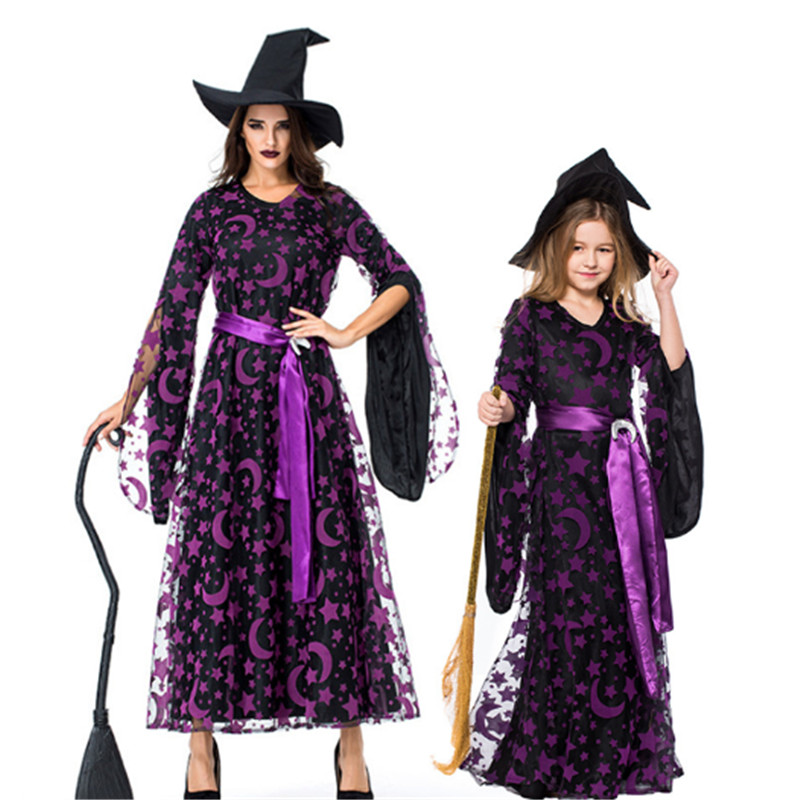Purple Star Moon Magic Witch Costume for women child Evil Witch Cosplay parent-child clothing Halloween Mother Daughter Dresses