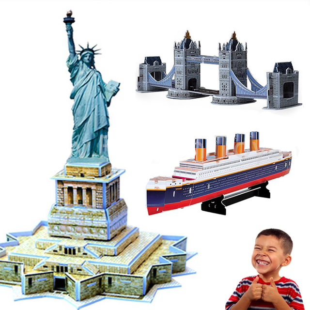3D Model Puzzle Educational house Children Kids Gift DIY Toy cardboard EPS board Toys Statue of liberty learning education toys