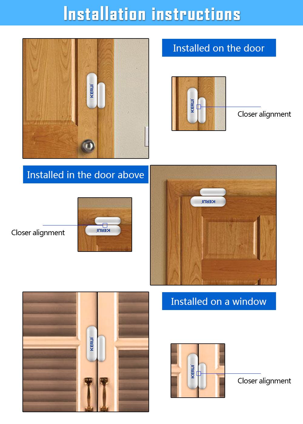 1368pcslot New KERUI open reminder Sensor 433mhz While Wireless Home Alarm Window Door Sensor to Detect Open Door_2