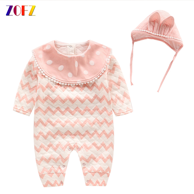 ZOFZ baby girl romper new born clothes striped girls rompers cotton baby costume 4 size romper for girls with hair accessories summer newborn baby rompers ruffle baby girl clothes princess baby girls romper with headband costume overalls baby clothes