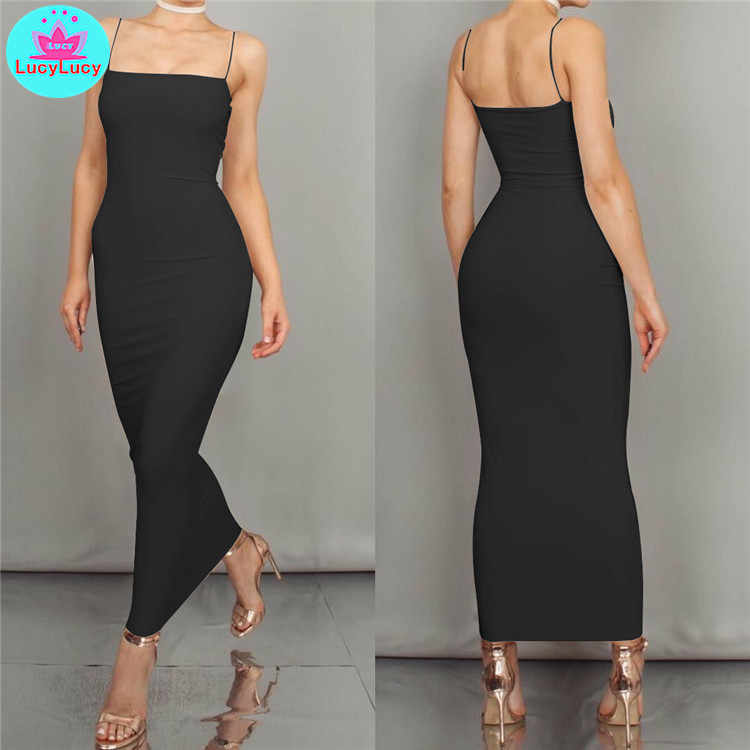2019 European and American women's summer new sexy slim tight solid color long dress