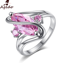 Agedo Charm Created Gorgeous Amethyst Silver Ring Jewelry Retro Carved Luxury Wedding Rings For Women Fine Jewelry Party GiftZ12