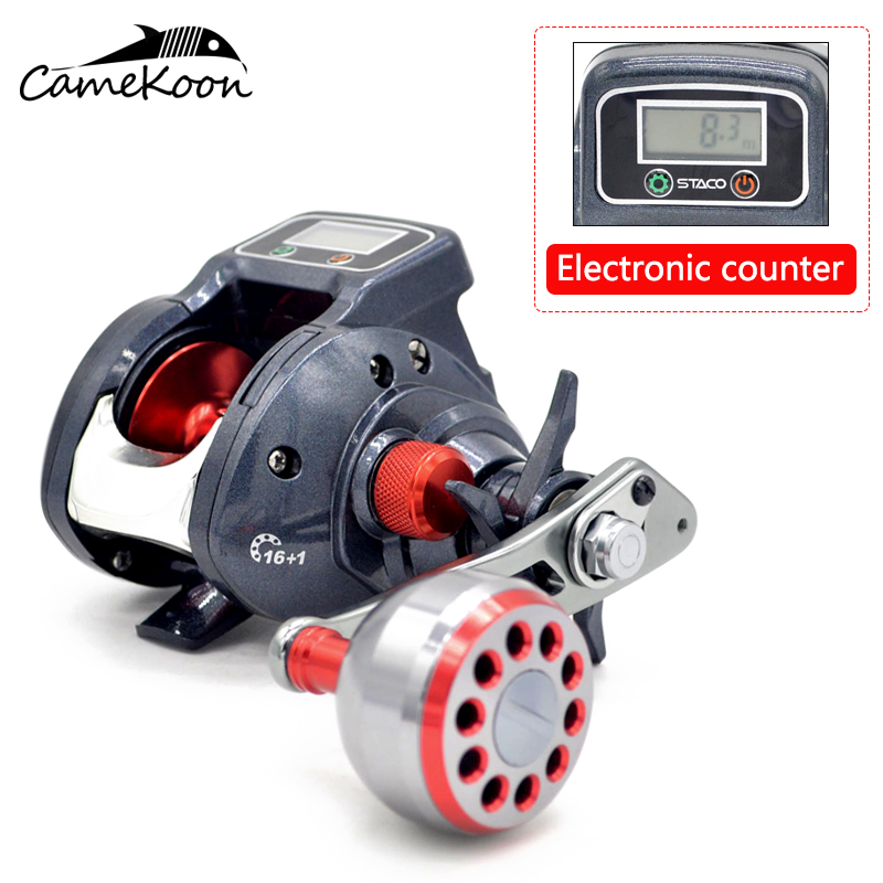 CAMEKOON Baitcasting Fishing Reels 6.3:1 Gear Ratio With Line Counter Baitcaster Reel Right/Left Hand Use 2016 spring winter baby flower girls lace wedding evening party tutu dresses children princess prom dress kids girl clothes