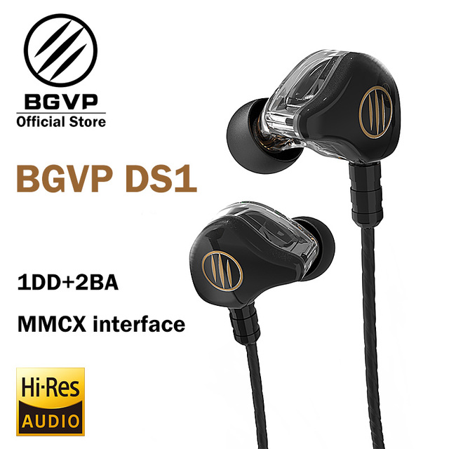 BGVP DS1 HIFI Earphone 1DD+2BA Hybrid Technology in-ear IEM types OCC with Mic/ OCC plated with silver no Mic MMCX cable