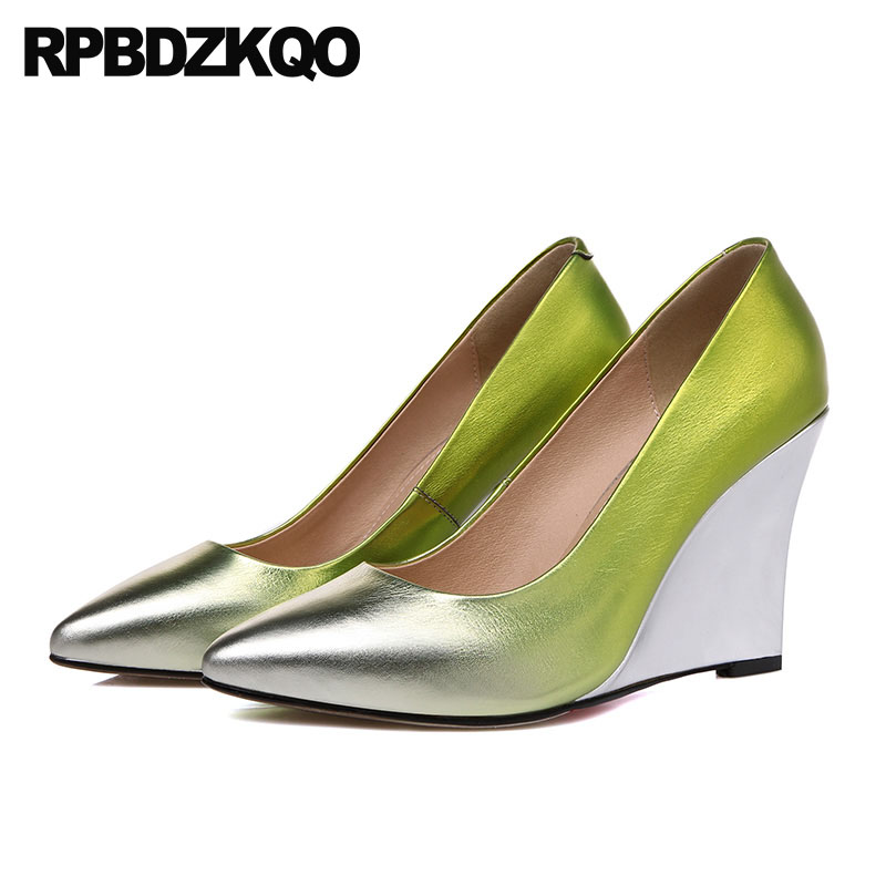 High Heels Wedge Wedding Shoes Italian Pumps Green Golden Pointed Toe Women Silver 2018 Famous Size 4 34 Gold Genuine Leather beango fashion metal toe rivets women boots lace up round toe low heel motorcycle booties casual shoes woman big size 34 43eu